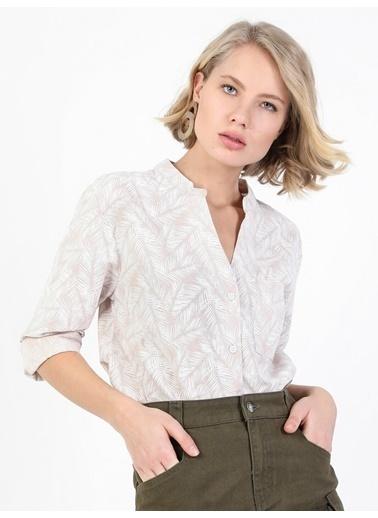 Colin's Regular Fit Shirt Neck Kadın Uzun Kol Gömlek Bej